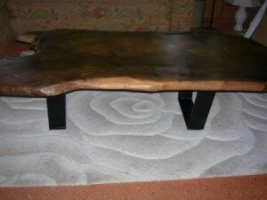 walnut coffee table made from single slab of walnut