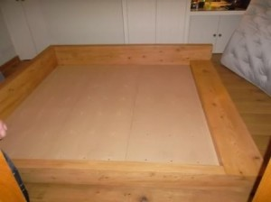 Bespoke wooden bed, cedar