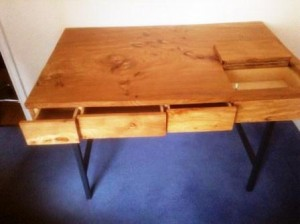 Rustic natural wood desk