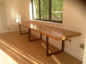 Natural wood home office desk