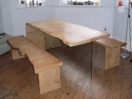 oak dining table on glass