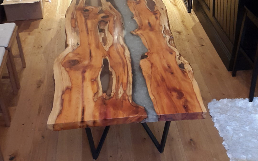 Yew slab dining table