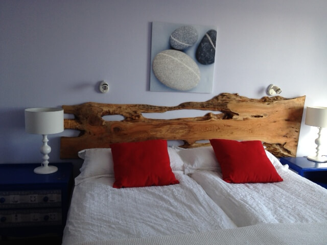 Natural wood slab headboards