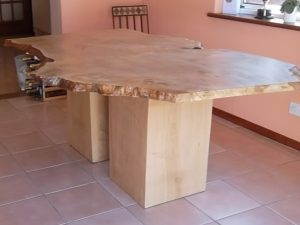 Natural wood edge breakfast bar/island