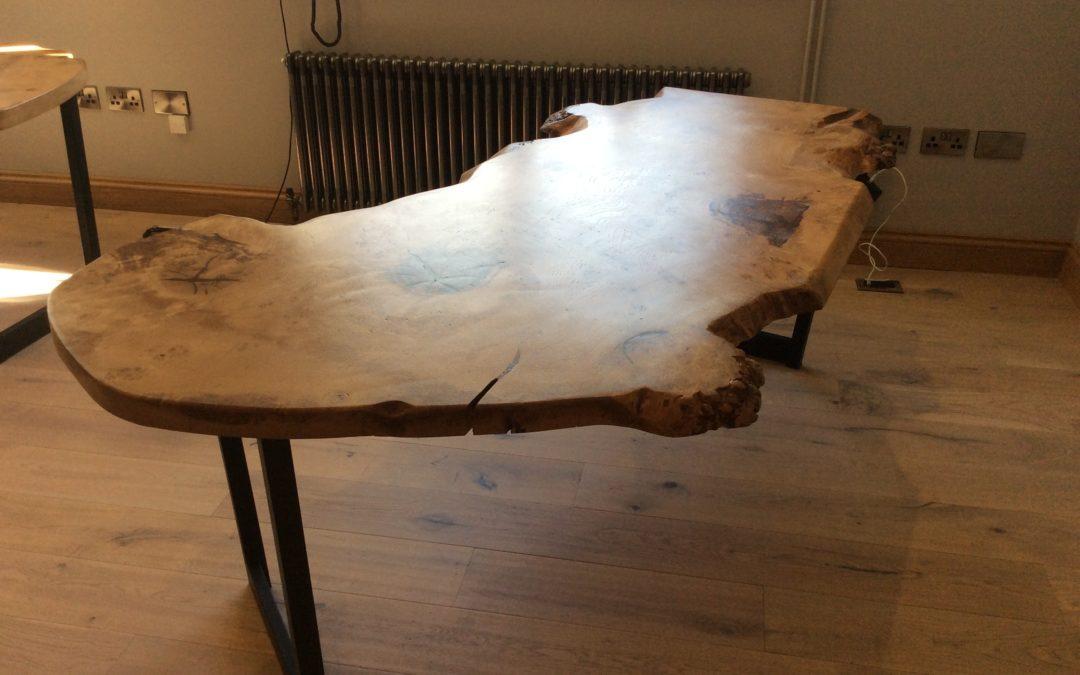 Rustic natural wood desk