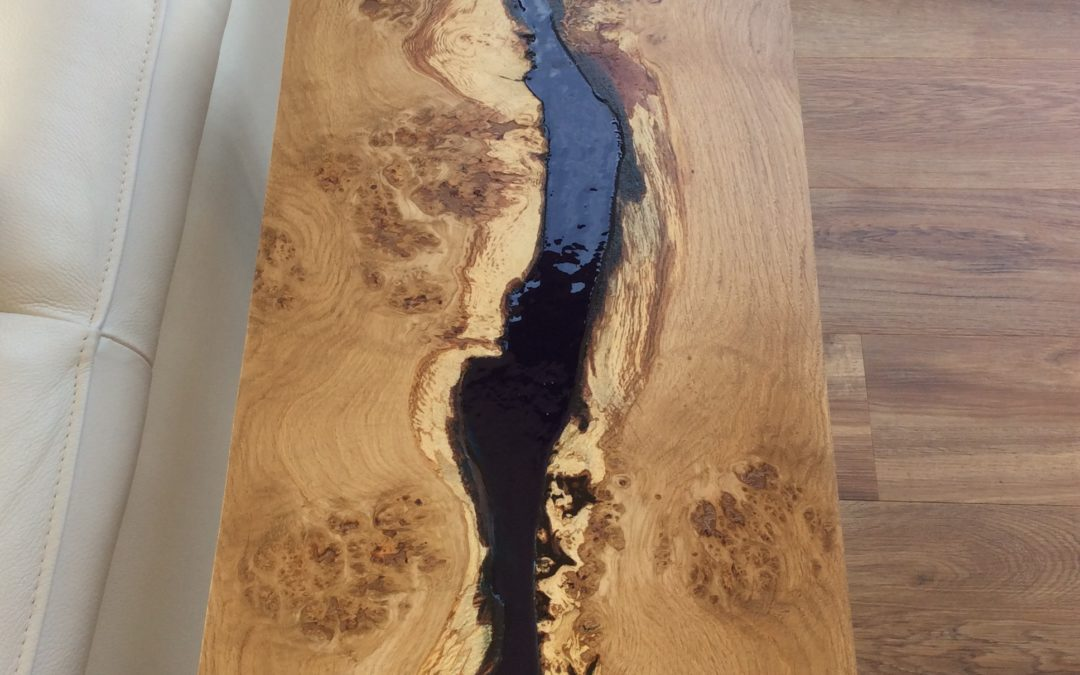 Oak resin river side tables