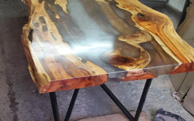 Resin river tree wood dining tables