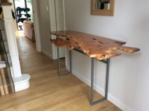 live edge console hall table