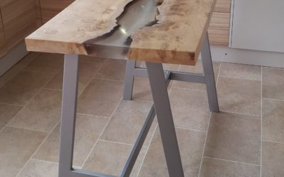 Natural wood poseur table/ breakfast table