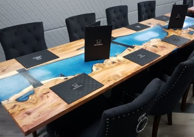 Formula one resin river dining tables