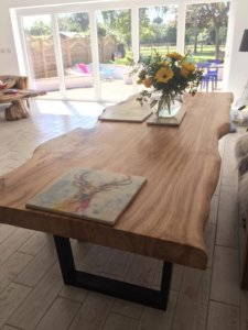 live edge slab dining room tables