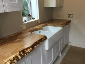 Waney edge kitchen worktops
