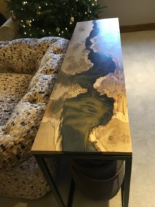 Resin waney edge table